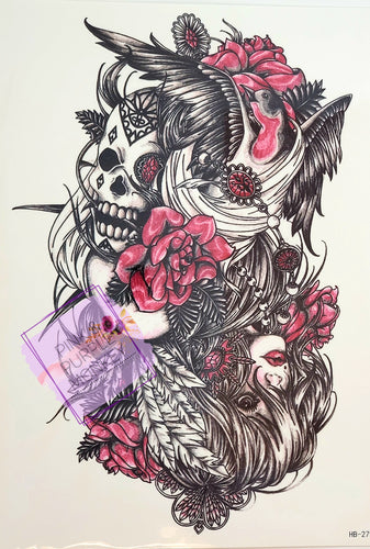 Skull, Bird and Upside Down Girl with Roses Tattoo - 8.5