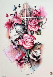 Cross with Roses and Skulls Tattoo - 8.5""