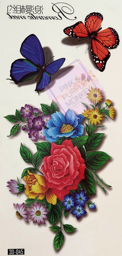 Spring Bouquet and 3D Butterfly Tattoo - 7 x 3