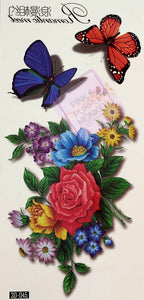 Spring Bouquet and 3D Butterfly Tattoo - 7 x 3""