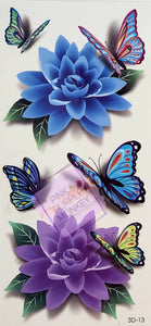 Blue and Purple Flowers with Butterfly Tattoos - 7 x 3""