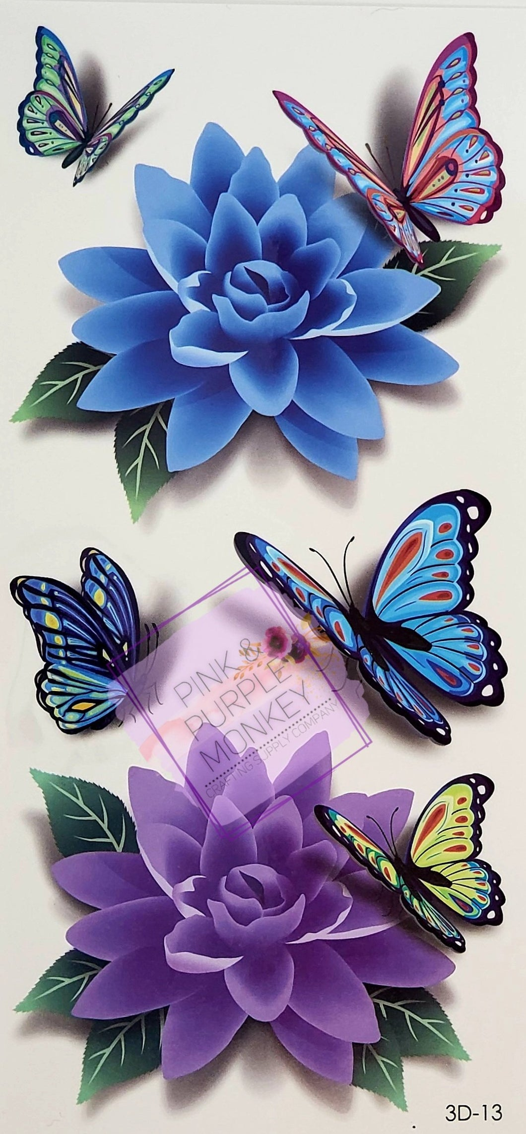 Blue and Purple Flowers with Butterfly Tattoos - 7 x 3