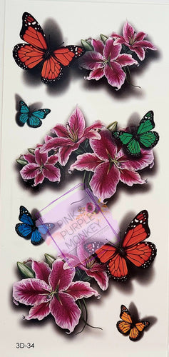 Stargazer Lily and Butterfly 3D Tattoos - 7 x 3