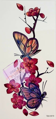 Pink and Purple Butterflies and Orchids Tattoo - 7 x 3