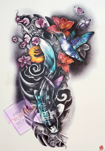 Koi Fish and Bird Floral Tattoo - 8 x 5