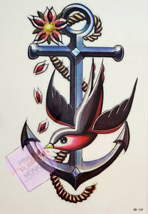Anchor, Rope and Bird Tattoo - 8 x 5""