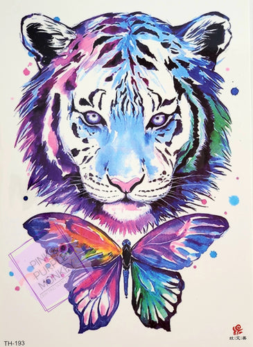 Colorful Tiger and Butterfly Tattoo - 8 x 5