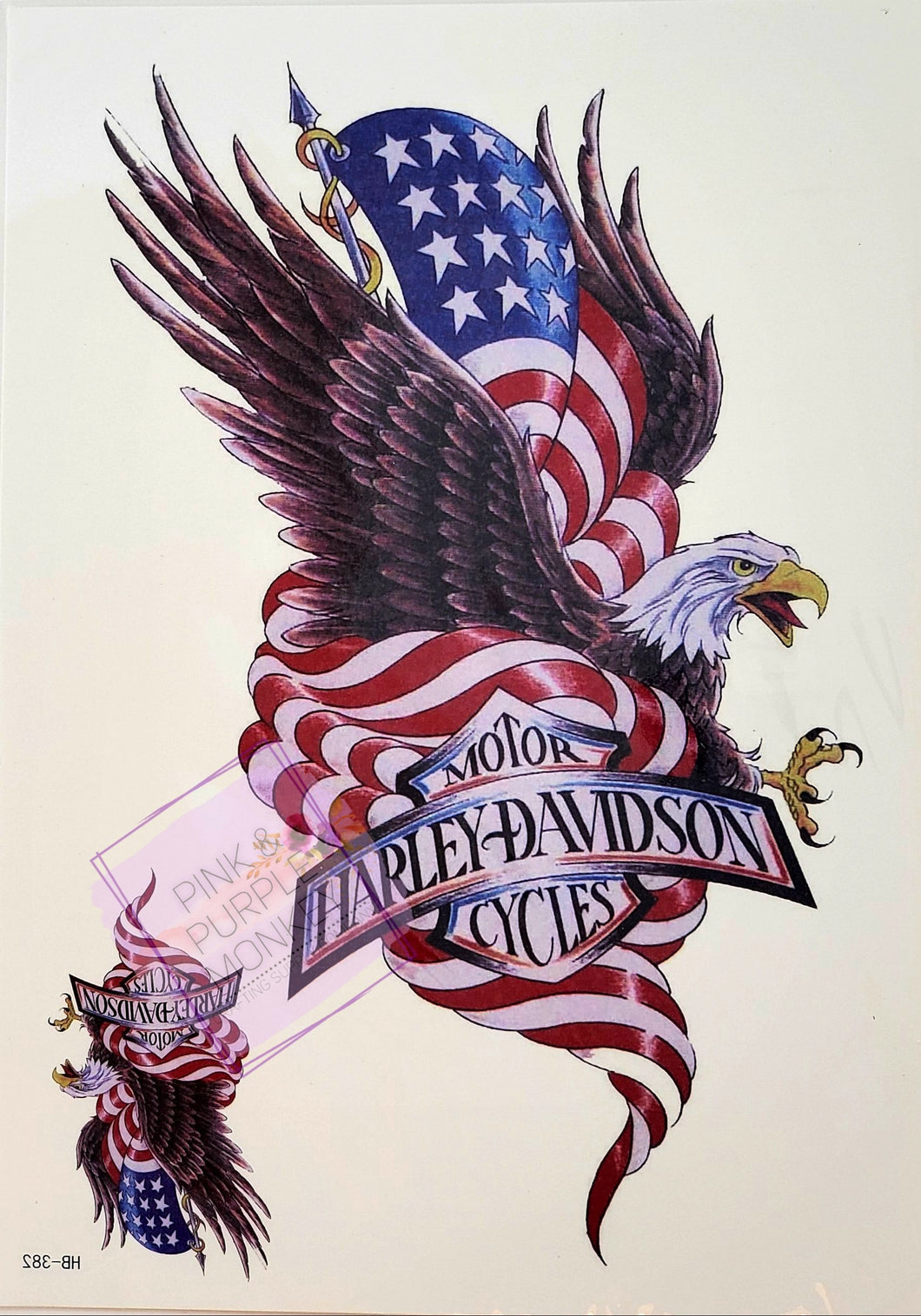 Harley Davidson Eagle and American Flag Tattoo - 8 x 5