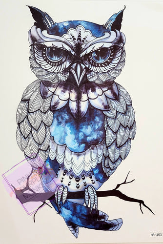 Owl Tattoo Black White and Blue - 8 x 5