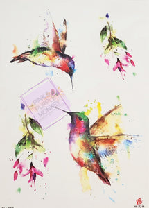 Artistic Hummingbird and Leaves Tattoo - 8 x 5""