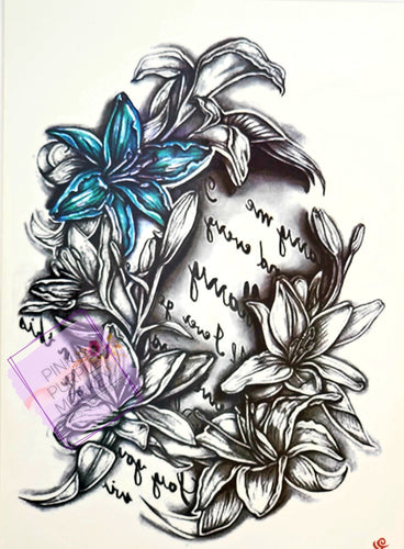 Love Letter Floral Tattoo - 8 x 5