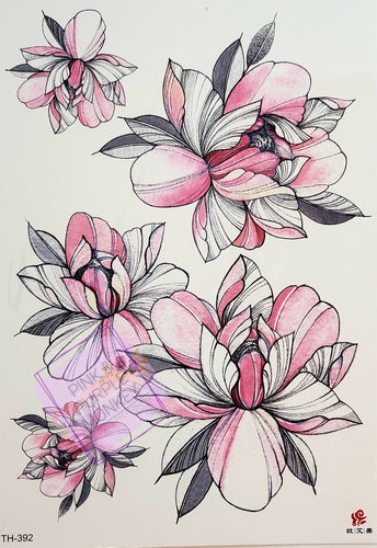 Pink, Grey and White Flower Tattoo - 8 x 5