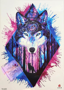 Pink and Blue Diamond Wolf Tattoo - 8 x 5""