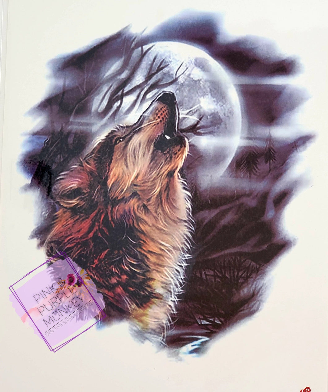 Brown Wolf Howling at the Moon Tattoo - 8 x 5