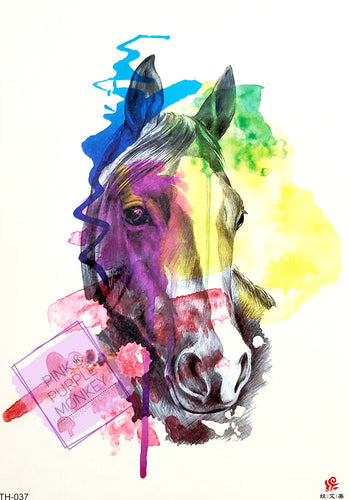Horse Tattoo with Paint Splatters - 8 x 5