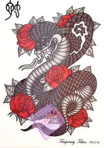 Cobra with Roses Tattoo - 8 x 5""