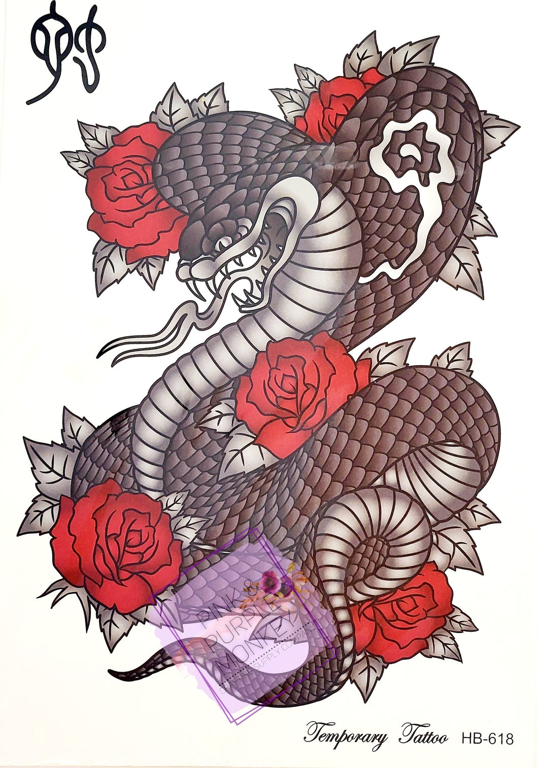 Cobra with Roses Tattoo - 8 x 5