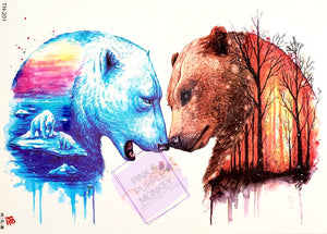 Fire and Ice Bears Tattoo - 8 x 5""