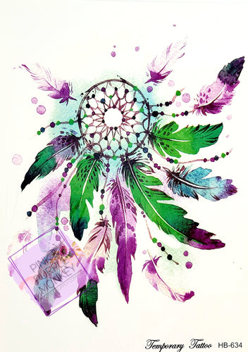 Purple & Green Feather Dreamcatcher Tattoo - 8x5