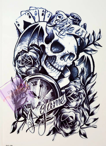 Life is a Game Black and White Skull Tattoo - 8 x 5
