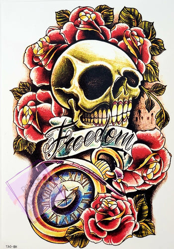 Freedom Skull Tattoo with Pocket Watch and Roses - 8 x 5