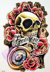 Freedom Skull Tattoo with Pocket Watch and Roses - 8 x 5""