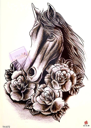 Horse Tattoo with Roses Black and White - 8x5