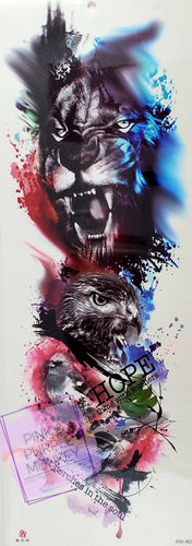 Tiger, Eagle and Bird Painted Tattoo - 18 x 6