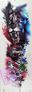 Tiger, Eagle and Bird Painted Tattoo - 18 x 6""