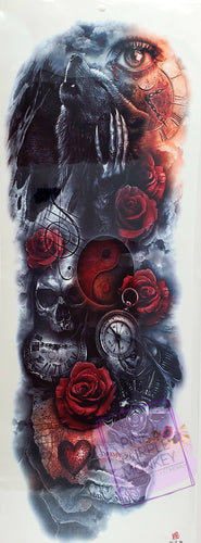 Red Rose, Wolf, Yin-Yang, Skull and Eye Tattoo - 18 x 6