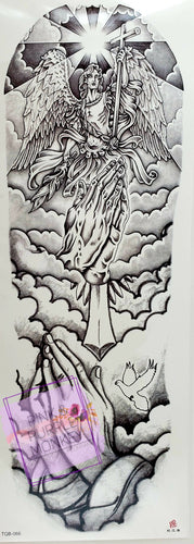 Black and White Angel, Praying Hands and Dove Tattoo - 18 x 6
