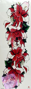 Dark Pink Tropical Floral Tattoo - 18 x 6""