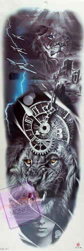 Black and White Lion with Clock Tattoo - 18 x 6