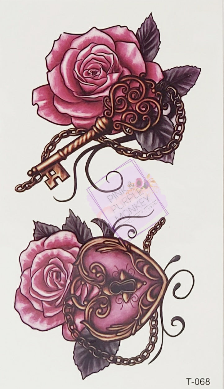 Heart-Shaped Lock and Key Red Rose Tattoo - 2 x 3