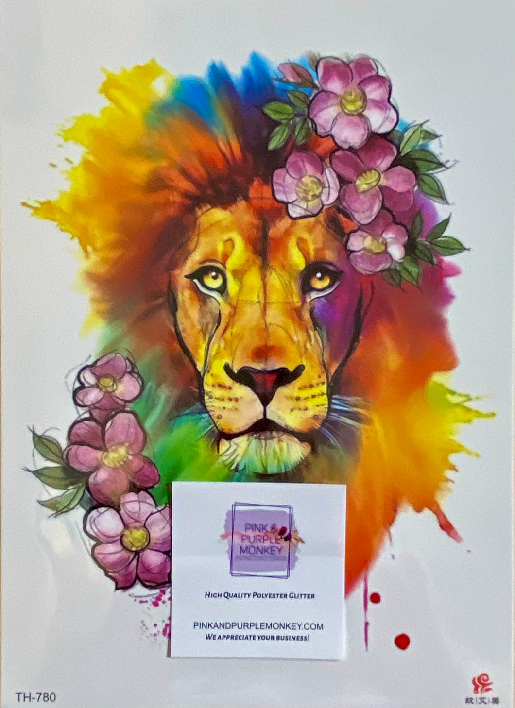 Colorful Lion & Pink Flowers Tattoo - 8 x 5