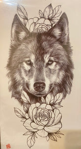 Wolf with Black and white Roses Tattoo
