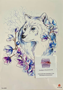 White Fox with Blue purple Flowers Tattoo - 8 x 5""