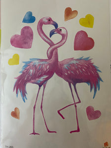 2 flamingos with Hearts Tattoo