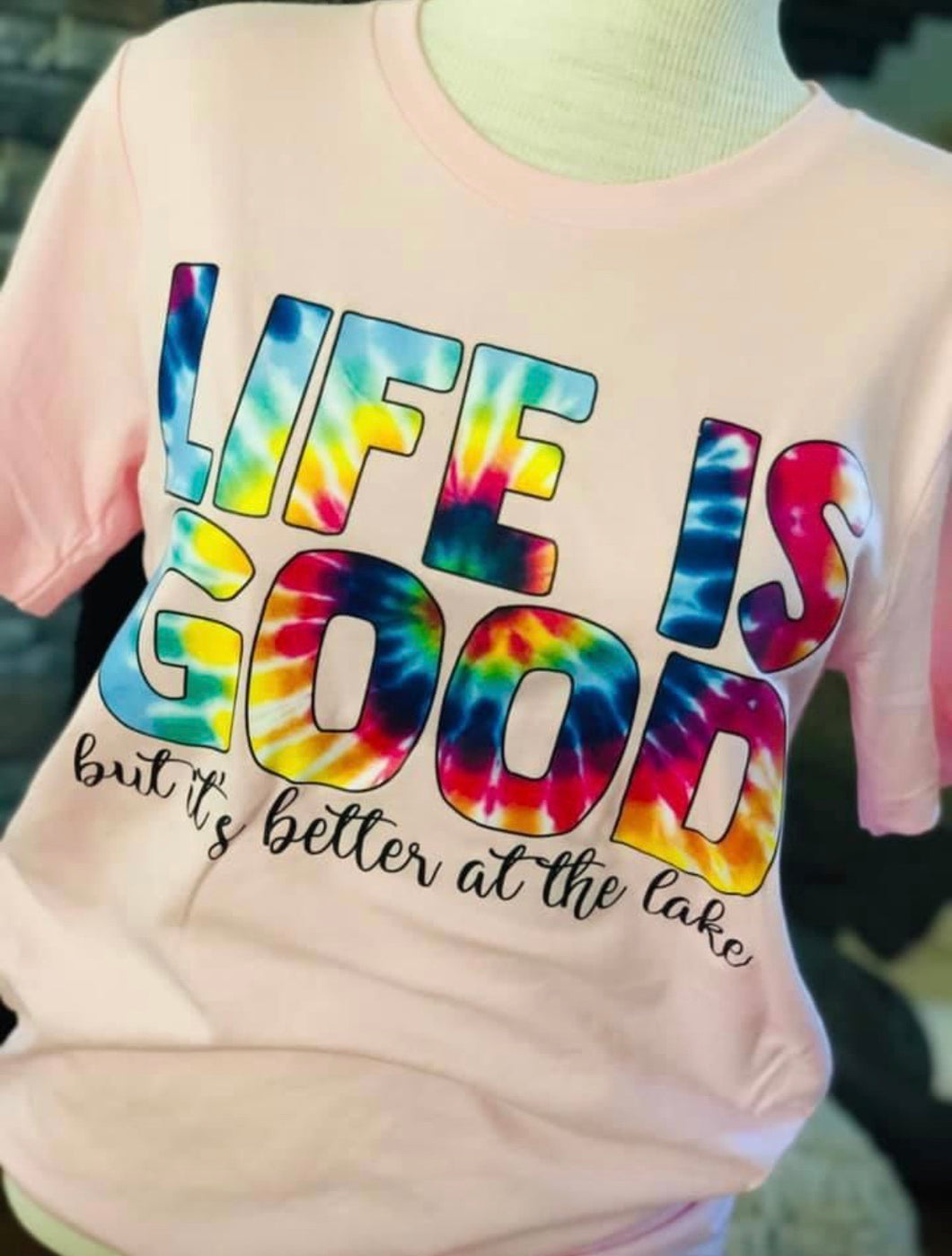 Life is Good Tie Dye Iron On Transfer