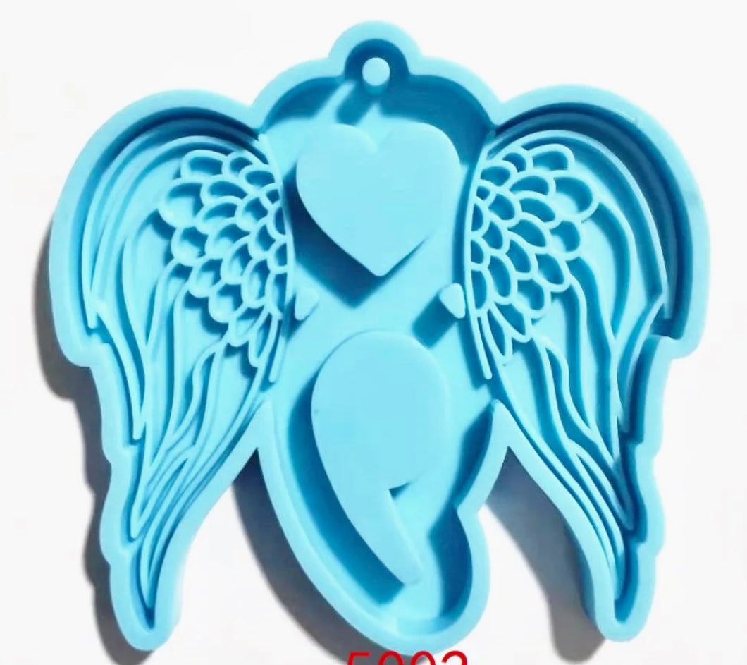 Semicolon with Wings Keychain Mold