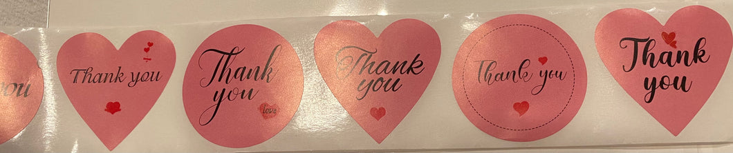 Pink Heart & Circle Thank You Stickers 1.5 inch - 25 stickers