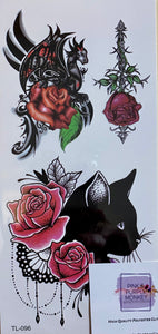 Black Cat & Dragon with Roses Tattoo - 7 x 3""