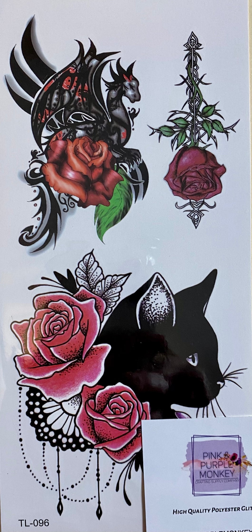 Black Cat & Dragon with Roses Tattoo - 7 x 3
