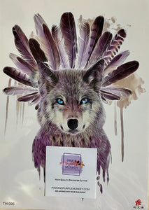 Wolf with Feather Headdress Tattoo - 8 x 5""
