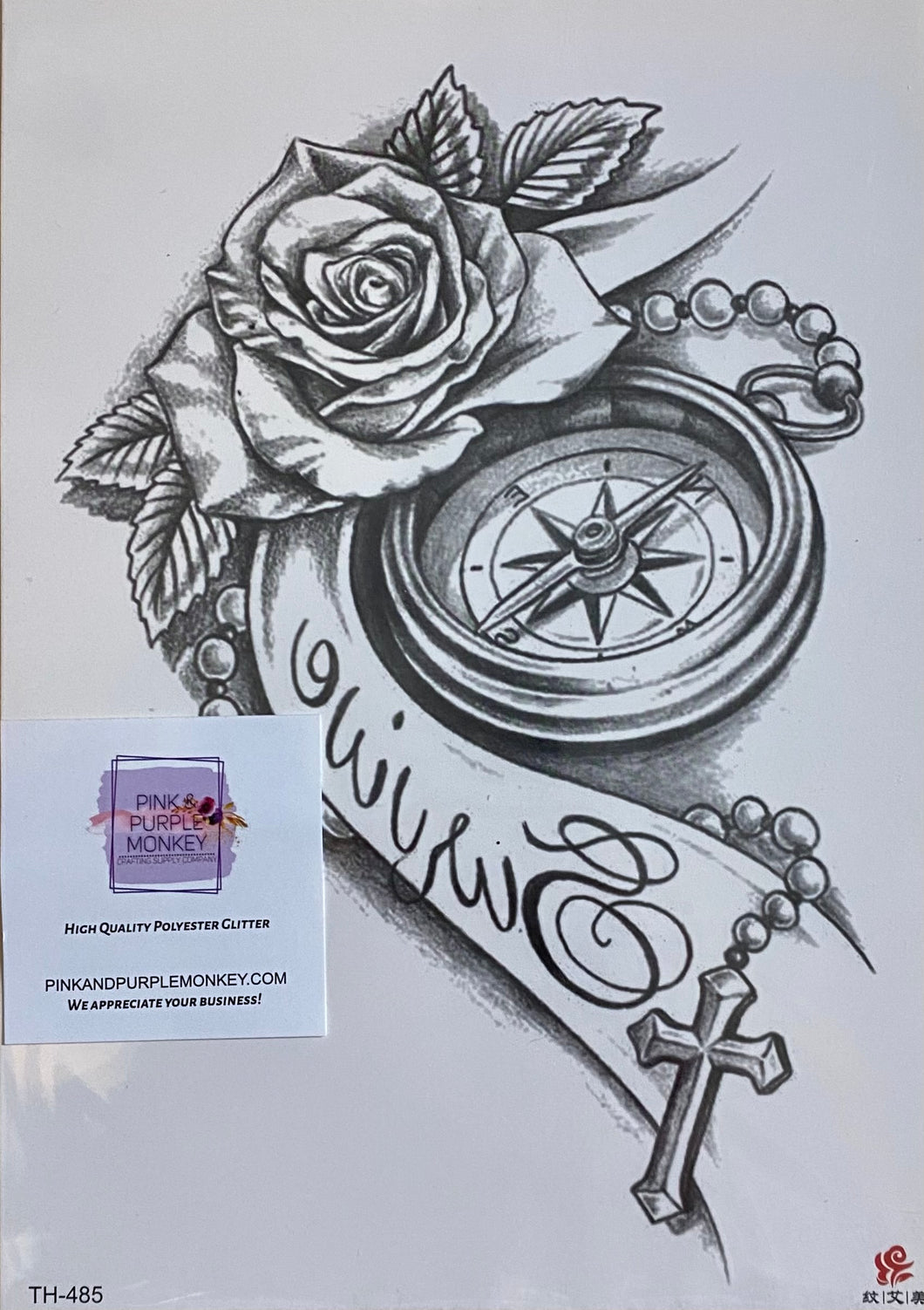 Black & White Compass & Rose (survive) Tattoo - 8 x 5