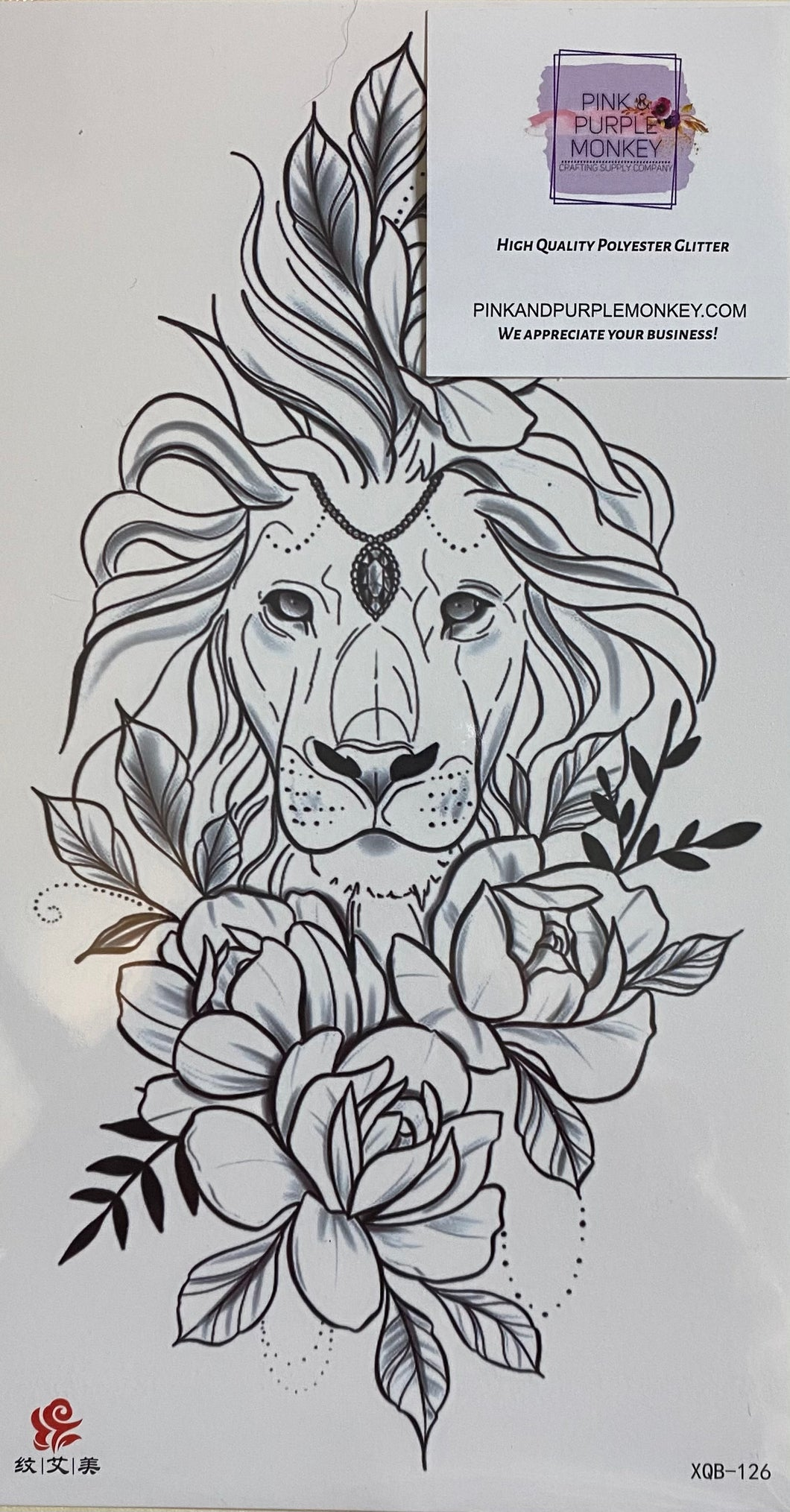 Black & White Lion with Flowers Tattoo