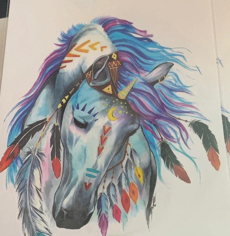 Boho Horse with Feathers Tattoo - 8.5