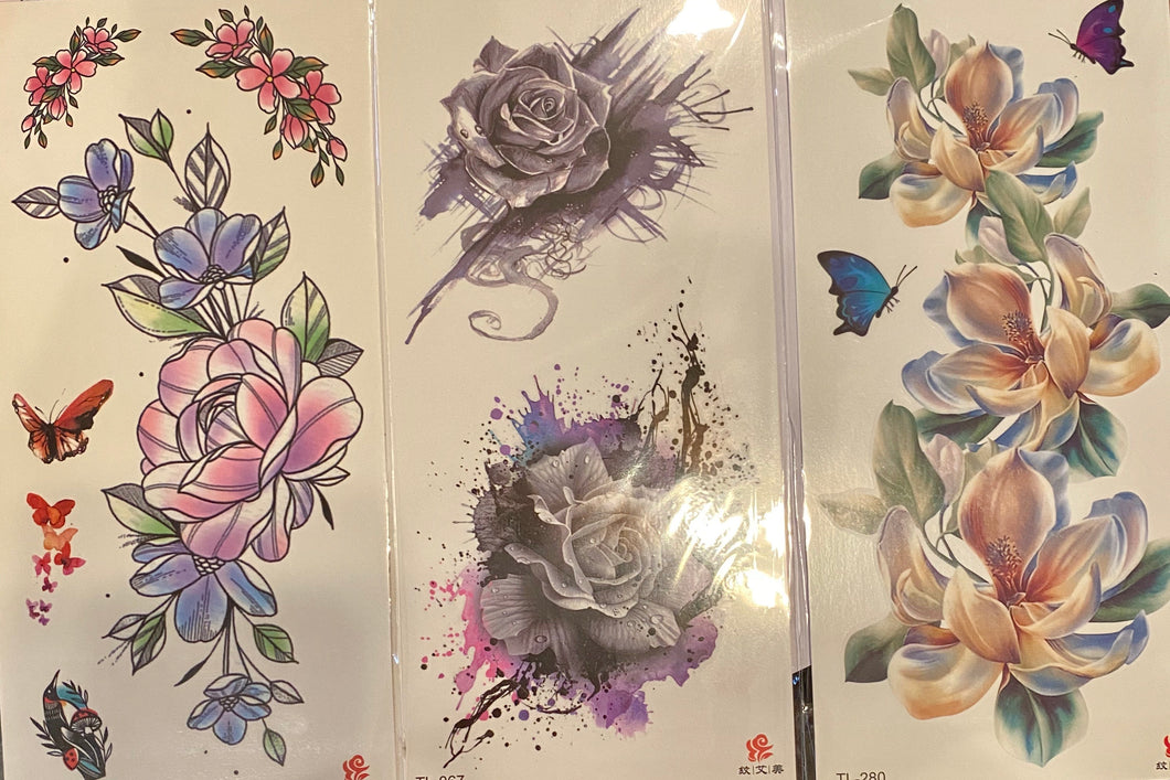 CS Bundle of 3 floral tattoos