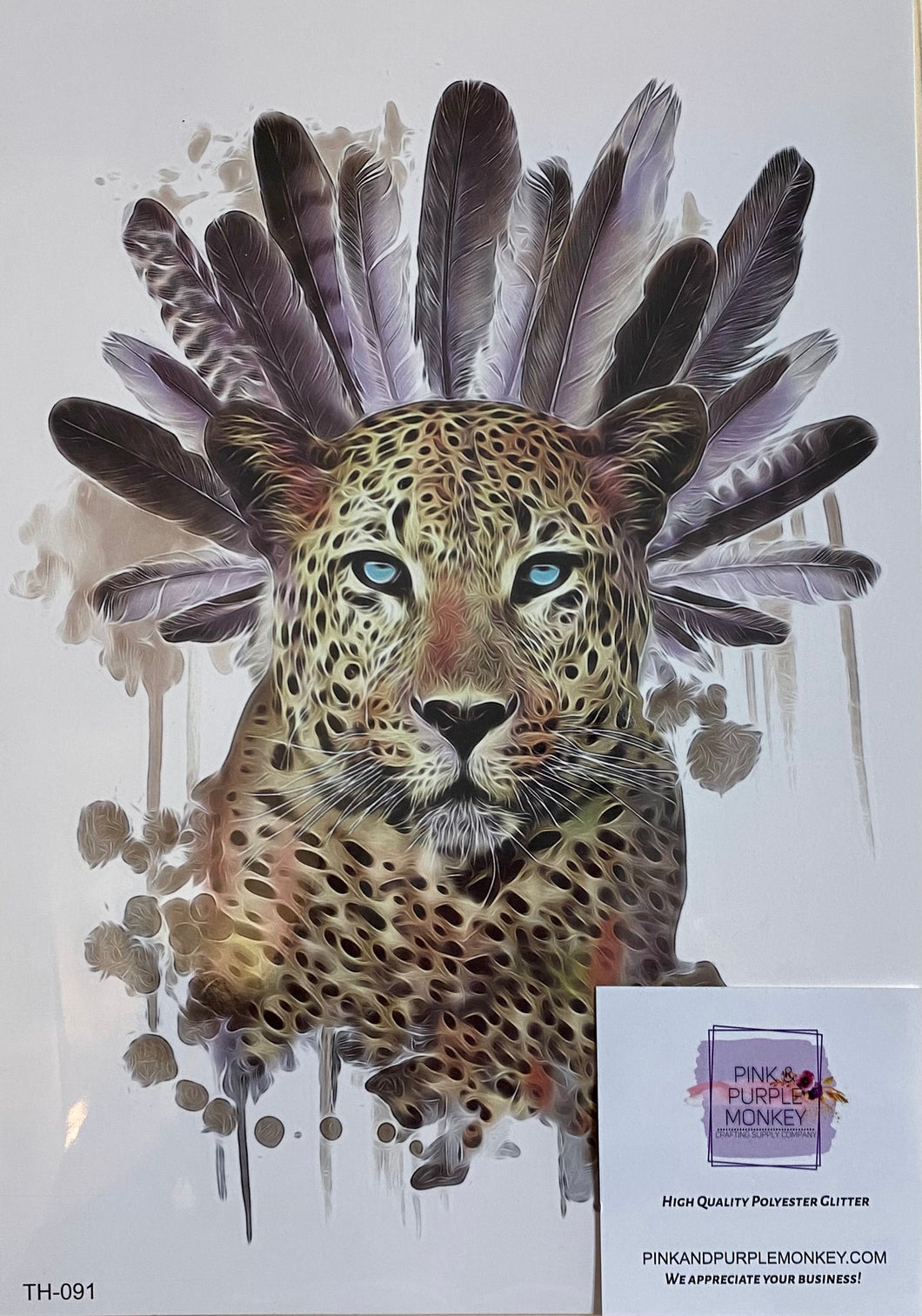 Leopard with Feather Headdress Tattoo - 8 x 5