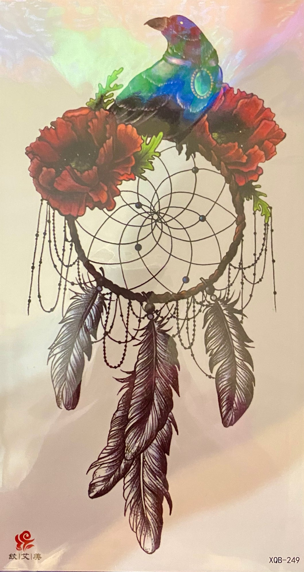 Dream Catcher & Crow with red flowers Tattoo